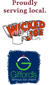 The Black Tie Market and Bistro serves local Wicked Joe Coffee and Gifford's Ice Cream.