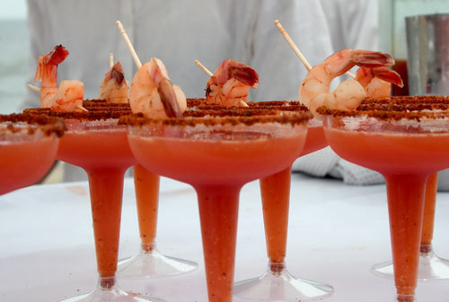 Shrimp atop Bloody Mary's.